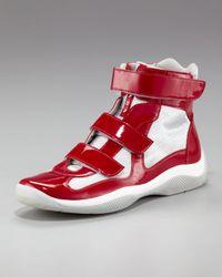 Prada - Red Grip-strap High-top Sneaker for Men - Lyst