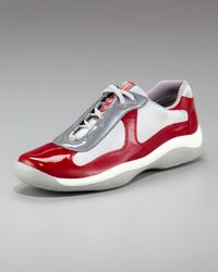 Prada - Red Patent-leather Sneaker for Men - Lyst