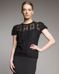 RED Valentino | Black Lace Puff-sleeve Top | Lyst