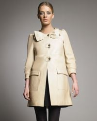 RED Valentino - Natural Bow-collar Leather Coat - Lyst