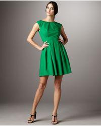 Shoshanna | Green Cap-sleeve Full-skirt Dress | Lyst