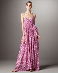 Shoshanna - Pink V-neck Printed Maxi Dress - Lyst