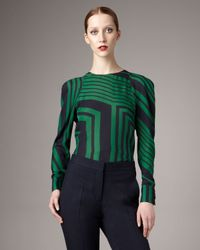 Stella McCartney | Green Geometric-print Puffed-shoulder Blouse | Lyst