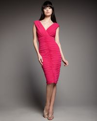 Tadashi Shoji | Pink Double-v Ruched Cocktail Dress | Lyst