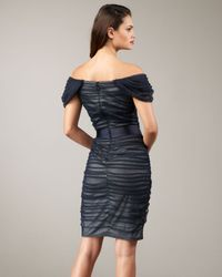 Tadashi Shoji | Blue Ruched Tulle Belted Dress | Lyst
