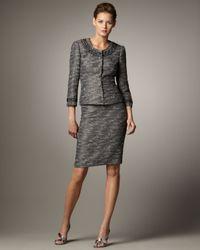 Tahari | Gray Bead-neck Tweed Suit | Lyst