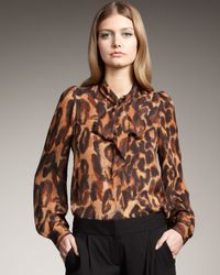 Theory - Multicolor Leopard Tie-neck Blouse - Lyst