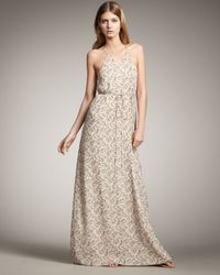 Theory | Natural Brynia Printed Silk Georgette Maxi Dress | Lyst