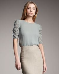 Theory | Green Silk Ruched-sleeve Shirt | Lyst