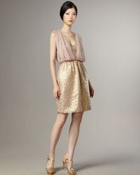 Tibi | Pink Metallic Damask Jacquard & Chiffon Dress | Lyst