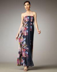 Tibi | Blue Aurora Plisse Maxi Dress | Lyst