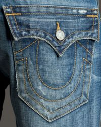 True Religion | Blue Ricky Nebraska Distressed Jeans for Men | Lyst