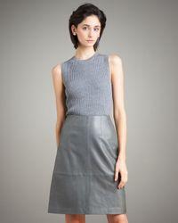 TSE - Gray Leather A-line Skirt - Lyst