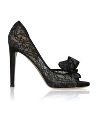 Valentino - Black Bow-embellished Lace Leather Pumps - Lyst