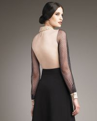 Valentino - Black Couture Dotted Bead-collar Blouse - Lyst