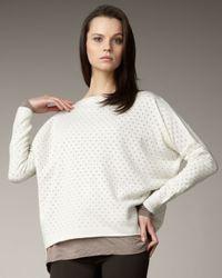 Vince | Natural Pointelle Boat-neck Sweater | Lyst