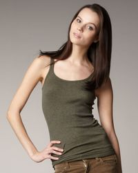 Vince | Green Favorite Tank, Heather Olive | Lyst