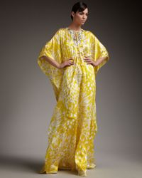 Badgley Mischka | Yellow Cold-shoulder Floral-print Caftan | Lyst
