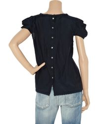 Tibi - Blue Embroidered Cotton and Silk-blend Blouse - Lyst