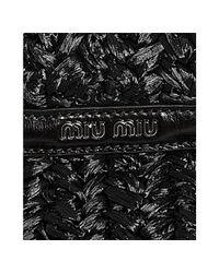 Miu Miu | Black Cornhusk Woven Convertible Tote | Lyst