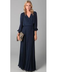 Parker - Blue Wrap Dress with Pleated Skirt - Lyst