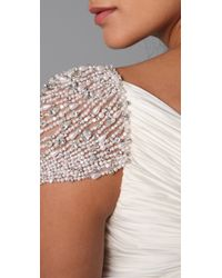 Reem Acra | White Twist Front Gown with Jeweled Sleeves | Lyst