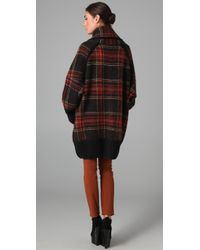 Sonia Rykiel | Red Oversized Plaid Sweater Jacket | Lyst