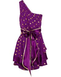 Thread Social - Purple Polka-dot Silk-blend Chiffon Dress - Lyst