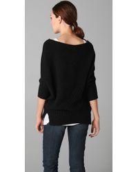 Vince | Black Checkerboard Dolman Sleeve Sweater | Lyst