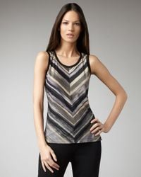 Misook Collection | Black Striped Shell | Lyst