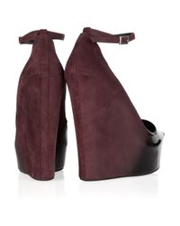 Theyskens' Theory   Black Ombré Patent-leather And Suede Wedges   Lyst