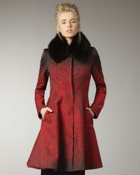 Alice + Olivia | Red Fur-collar Coat | Lyst