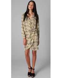 By Malene Birger - Natural Pazo Snake Print Wrap Dress - Lyst