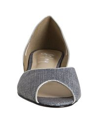 French Sole | Gray Grey-blue Woven Raffia Yen Peep Toe Flats | Lyst