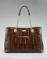 kate spade new york | Brown Crocodile-embossed Helena Shoulder Bag | Lyst