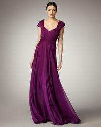 Tadashi Shoji | Purple Cap-sleeve Basket-weave Gown | Lyst