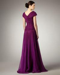 Tadashi Shoji - Purple Cap-sleeve Basket-weave Gown - Lyst
