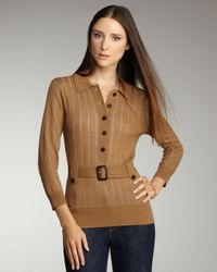 Tory Burch | Brown Berta Belted Sweater | Lyst
