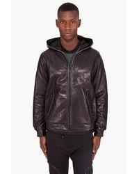 Y-3 - Black Hooded Leather Jacket for Men - Lyst