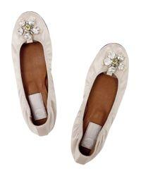 Lanvin | Natural Crystal-embellished Satin Ballerina Flats | Lyst