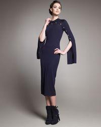 Alexander McQueen | Blue Button-detail Knit Dress | Lyst