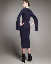 Alexander McQueen | Blue Button-detail Knit Dress | Lyst