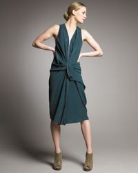 Alexander Wang | Green Draped Zipper Dress | Lyst