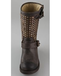 Ash - Brown Trash Studded Flat Boots - Lyst