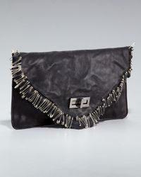 Balmain | Black Safety Pin Leather Clutch | Lyst