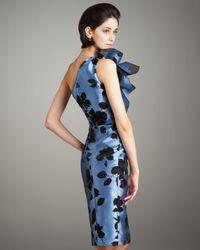 Carolina Herrera - Blue Ruffled One-shoulder Dress - Lyst