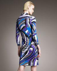 Emilio Pucci - Blue Printed Polo Dress - Lyst