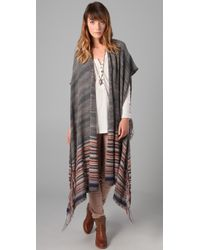 Free People | Gray Wandering Blanket Wrap | Lyst