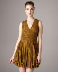 J. Mendel - Green V-neck Chiffon Pleated Dress - Lyst