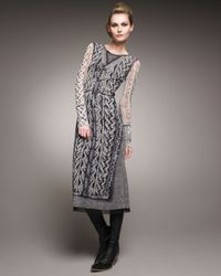 Jean Paul Gaultier | Gray Cable-print Tulle Trompe-loeil Dress | Lyst